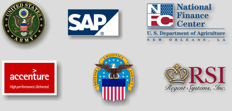 United States Army, SAP, National Finance Center, accenture, Defense Logistics Agency, RSI